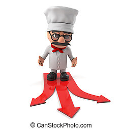 3d Friendly pizza chef has a choice to make - 3d render of a...