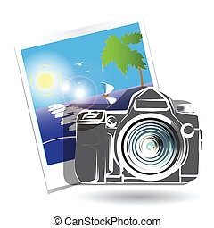 Photo camera - Illustration, photo camera on background...