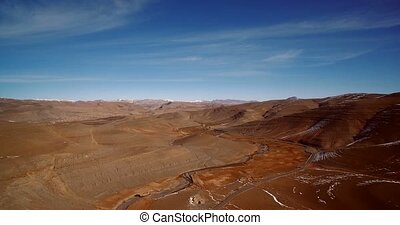Aerial, Snowy Mountains, Landscape Around Agoudal, Morocco....