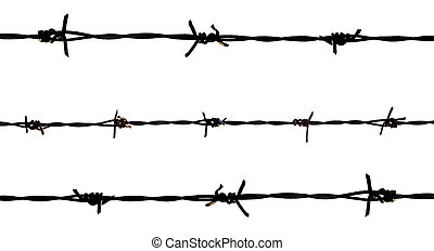 barbed wire on white back ground