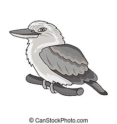 Kookaburra sitting on branch icon in monochrome style...
