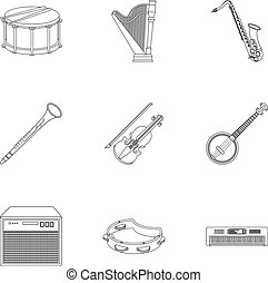 Musical instruments set icons in outline style. Big...
