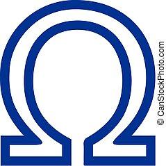 Greek omega sign outline