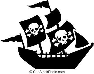 Pirate ship with sail skull and bones