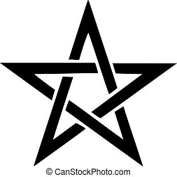 Clip Art Vector of Pentagram Symbol - Star sign with magic evil ...