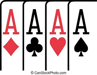 Four aces playing cards winning poker