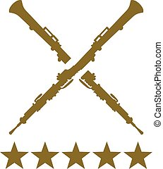 Oboe crossed with five golden stars