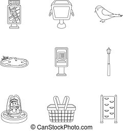 Park set icons in outline style. Big collection of park...