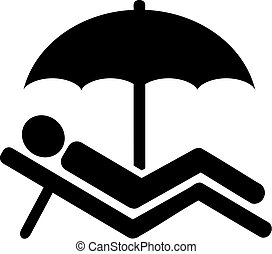 Pictogram vacation - Man on lounger under parasol