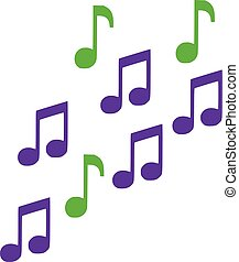 Green and lila music notes
