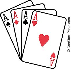 Four aces playing cards spades hearts diamonds clubs