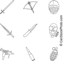 Weapon set icons in outline style. Big collection of weapon vector symbol stock illustration