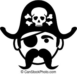 Pirate head with eye patch and skull