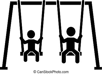 Swing with two kids pictogram