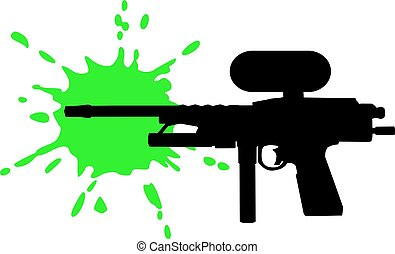 Paintball gun with green splash