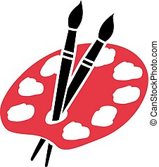 Artist palette with two brushes