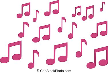 Background of pink music notes