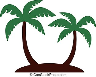 Two palm trees on an isle