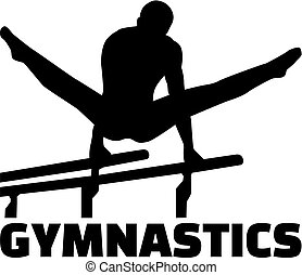 Gymnastics with man at parallel bars