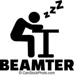 Sleeping official. German word with icon