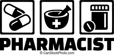 Pharmacist Medicine Icons