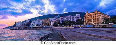Town of Opatija waterfront sunset panorama, Kvarner bay of...