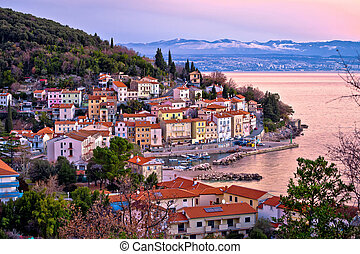 Moscenicka draga village waterfront at dawn, Kvarner bay of...