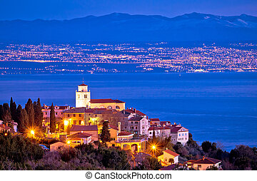 Moscenice skyline and Kvarner bay evening view - Moscenice...