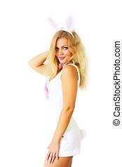 Sexy girl in a rabbit costume on a white background