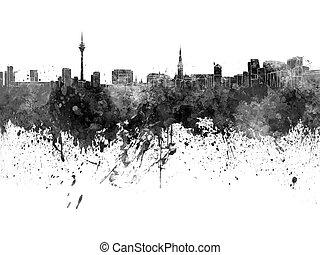 Dusseldorf skyline in black watercolor