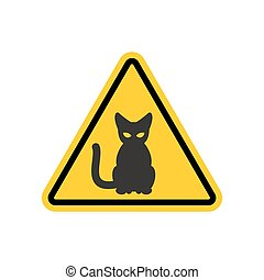 Attention cat. Danger yellow road sign. Pet Caution