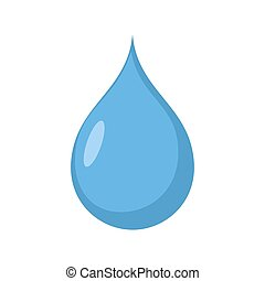 Drop of water isolated. drib Aqua blue on white background
