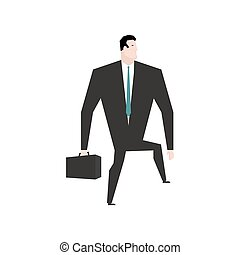Businessman steps forward. Guy goes on white background. Movement in business