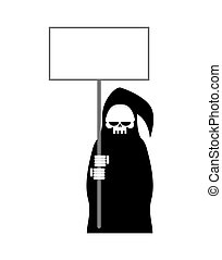 Grim Reaper with empty billboard plate. Death in hood hold...