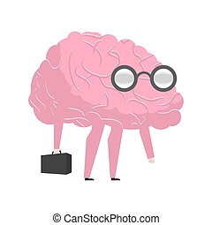 Smart brain wearing glasses and with suitcase. genius...