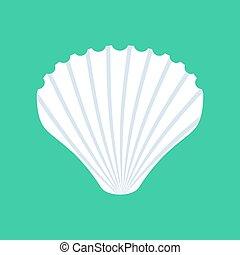 Shell isolated. White mussels on green background. Seashell...