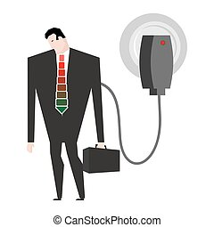 Charging for businessman. Man in suit and charger. business...