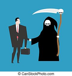 Contract with death. Grim Reaper and businessman shaking...