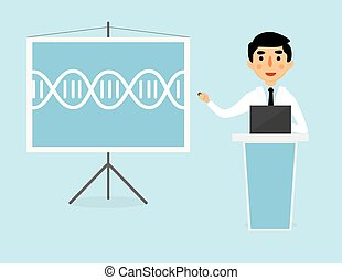 Doctor talking about DNA helix structure. Genetics lesson...