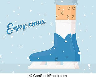Enjoy xmas (christmas). Winter skates flat illustration