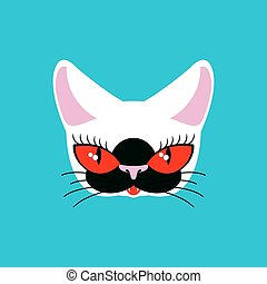 Siamese cat face isolated. Pet on green background