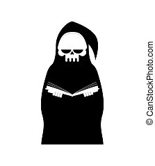 Grim Reaper Isolated. Death in hood on white background