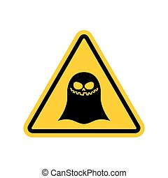 Attention ghost. Dangers of yellow road sign. spook Caution