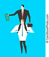 Business motivation. Boss sitting on shoulders of manager....