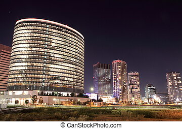 high rise buildings in Yokohama, Japan (night scene)