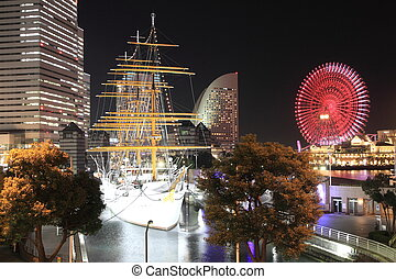 Nippon maru and Yokohama Cosmo World in Japan (night scene)