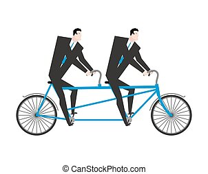 Businessman on tandem. Business team on bicycle. Boss...