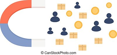Magnet for people, products and money vector illustration....