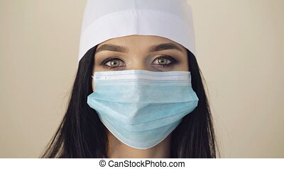 Close up of a female surgeon's face wears surgical mask