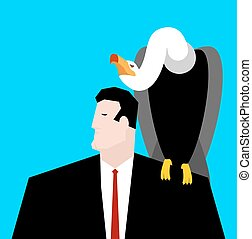 vulture and businessman. neophron sitting on man shoulder
